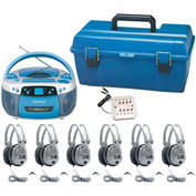 HamiltonBuhl Val-U-Pak USB, MP3, CD Listening Center, 6 Deluxe Headsets