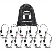 HamiltonBuhl Sack-O-Phones, 10 HA2M Personal Headsets w/ Mic, Foam Ear Cushions in a Carry Bag
