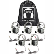 HamiltonBuhl Sack-O-Phones, 5 HA7M Deluxe Headphones w/ Mic in a Carry Bag