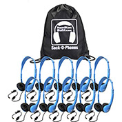 Sack-O-Phones, 10 Personal Headsets, Foam Ear Cushions in a Carry Bag, Blue