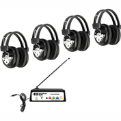 HamiltonBuhl Wireless 4 Person Listening Center w/ Multi-Freq. Transmitter & Wireless Headphones