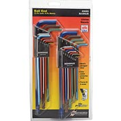 "Bondhus 69600 ColorGuard™ 22 Pc. Ball End L-Wrench Hex Key Combo Set, .050-3/8"" & 1.5mm-10mm"