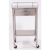 "Blickman 7850SS Ferguson Anesthesia Utility Table with 1 Drawer, 20""L x 16""W x 34""H"