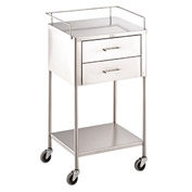 "Blickman 7754SS George Anesthesia Utility Table with 2 Drawers, 20""L x 16""W x 34""H"