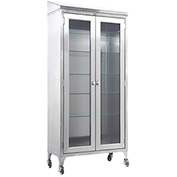 "Blickman 7970SS Paul Instrument and Supply Cabinet, 5 Glass Shelves, 35-5/8""W x 16""D x 79-1/4""H"