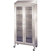 "Blickman 7971SS Paul Instrument and Supply Cabinet, 5 Glass Shelves, 47-5/8""W x 16""D x 79-1/4""H"