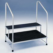 Blickman 7764MR-HR Two-Step Foot Stool with Two Handrails, Stainless Steel, MR Conditional
