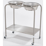 "Blickman 7808MR Double Basin Solution Stand with Shelf, 29""W x 15""D x 33""H, MR Conditional"