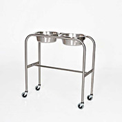 "Blickman 7808SS-HB Double Basin Solution Stand with H-Brace, 29""W x 15""D x 33""H, Stainless Steel"