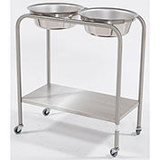 "Blickman 7808SS Double Basin Solution Stand with Shelf, 29""W x 15""D x 33""H, Stainless Steel"