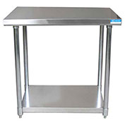 "BK Resources CTT-3030, 30"" W  x 30"" D 16 ga. Stainless Steel Workbench w/ Galvanized Legs & Shelf"