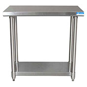 "BK Resources CVT-3630, 36"" W x 30"" D 16 ga. Stainless Steel Workbench w/ Shelf"