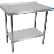 "BK Resources SVTR-3630, 30"" W x 36"" D T-430 18 ga. Stainless Steel Workbench with a 1.5"" Backsplash"