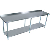 "BK Resources SVTR-9630, 30"" W x 96"" D T-430 18 ga. Stainless Steel Workbench with a 1.5"" Backsplash"