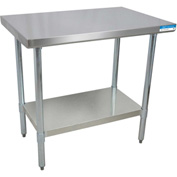 "BK Resources VTT-1860, 60"" W x 18"" D T-430 18ga. Stainless Steel Workbench w/ Galvanized Legs"