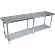 "BK Resources VTT-1884, 84"" W x 18"" D T-430 18ga. Stainless Steel Workbench w/ Galvanized Legs"
