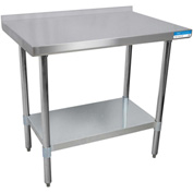 "BK Resources VTTR-1830, 30"" W x 18"" D T-430 18ga. Stainless Steel Workbench with a 1.5"" backsplash"