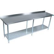 "BK Resources VTTR-1884, 84"" W x 18"" D T-430 18ga. Stainless Steel Workbench with a 1.5"" backsplash"