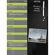 "Black Magnetic Glass Weekly Planner 18""H x 24""W"