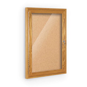 "Balt® Indoor Enclosed Bulletin Board - 1 Door - Cork - Oak Frame - 18""W x 24""H"