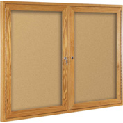 "Balt® Indoor Enclosed Bulletin Board - 2 Door - Cork - Oak Frame - 46""W x 34""H"