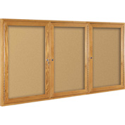 "Balt® Wood Trim Bulletin Board Cabinet,3-Door 72""W x 48""H, Oak Trim, Natural Cork"