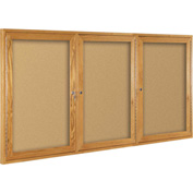 "Balt® Wood Trim Bulletin Board Cabinet,3-Door 96""W x 48""H, Oak Trim, Natural Cork"