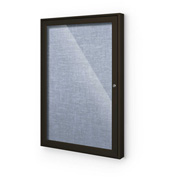"Balt® Indoor Enclosed Bulletin Board Cabinet,1-Door 36""W x 36""H, Coffee Trim, Pacific Blue"