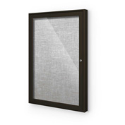"Balt® Indoor Enclosed Bulletin Board Cabinet,1-Door 36""W x 36""H, Coffee Trim, Platinum"