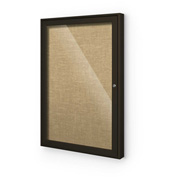 "Balt® Indoor Enclosed Bulletin Board Cabinet,1-Door 36""W x 36""H, Coffee Trim, Natural"