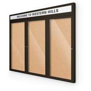 "Balt® Outdoor Headline Bulletin Board Cabinet,3-Door 72""W x 36""H, Coffee Trim, Nat. Cork"