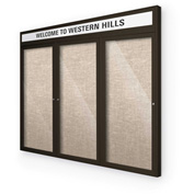 "Balt® Outdoor Headline Bulletin Board Cabinet,3-Door 72""W x 36""H, Coffee Trim, Cotton"