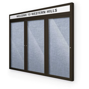 "Balt® Outdoor Headline Bulletin Board Cabinet,3-Door 72""W x 36""H, Coffee Trim, Pac. Blue"