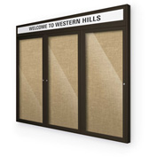 "Balt® Outdoor Headline Bulletin Board Cabinet,3-Door 72""W x 36""H, Coffee Trim, Natural"