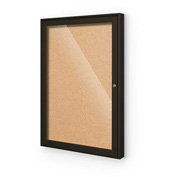 "Balt® Indoor Enclosed Bulletin Board - 1 Door - Cork - Coffee Aluminum Frame - 18""W x 24""H"