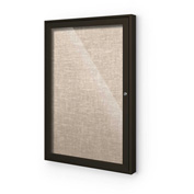 "Balt® Indoor Enclosed Bulletin Board Cabinet,1-Door 18""W x 24""H, Coffee Trim, Cotton"