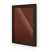 "Balt® Outdoor Enclosed Bulletin Board Cabinet,1-Door 18""W x 24""H, Coffee Trim, Burgundy"