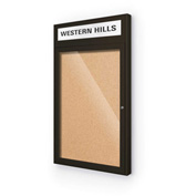 "Balt® Outdoor Headline Bulletin Board Cabinet,1-Door 18""W x 30""H, Coffee Trim, Nat. Cork"