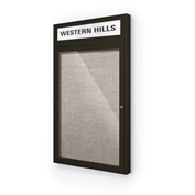 "Balt® Outdoor Headline Bulletin Board Cabinet,1-Door 18""W x 30""H, Coffee Trim, Gray"