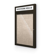"Balt® Outdoor Headline Bulletin Board Cabinet,1-Door 18""W x 30""H, Coffee Trim, Cotton"