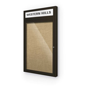 "Balt® Outdoor Headline Bulletin Board Cabinet,1-Door 18""W x 30""H, Coffee Trim, Natural"
