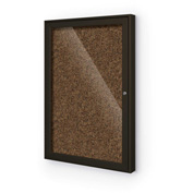 "Balt® Enclosed Bulletin Board - 1 Door - Tan Rubber - Coffee Aluminum Frame - 24""W x 36""H"