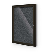 "Balt® Enclosed Bulletin Board - 1 Door - Black Rubber - Coffee Aluminum Frame - 24""W x 36""H"