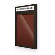 "Balt® Outdoor Headline Bulletin Board Cabinet,1-Door 24""W x 42""H, Coffee Trim, Burgundy"