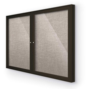 "Balt® Indoor Enclosed Bulletin Board Cabinet, 46""W x 34""H, Coffee Trim, Gray"