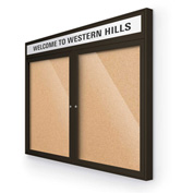 "Balt® Outdoor Headline Bulletin Board Cabinet,2-Door 48""W x 36""H, Coffee Trim, Nat. Cork"