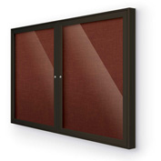 "Balt® Indoor Enclosed Bulletin Board Cabinet,2-Door 60""W x 36""H, Coffee Trim, Burgundy"