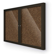 "BaltĒ Enclosed Bulletin Board - 2 Door - Tan Rubber - Coffee Aluminum Frame - 60""W x 36""H"