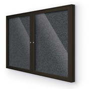 "BaltĒ Enclosed Bulletin Board - 2 Door - Black Rubber - Coffee Aluminum Frame - 60""W x 36""H"