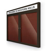 "Balt® Outdoor Headline Bulletin Board Cabinet,2-Door 60""W x 36""H, Coffee Trim, Burgundy"